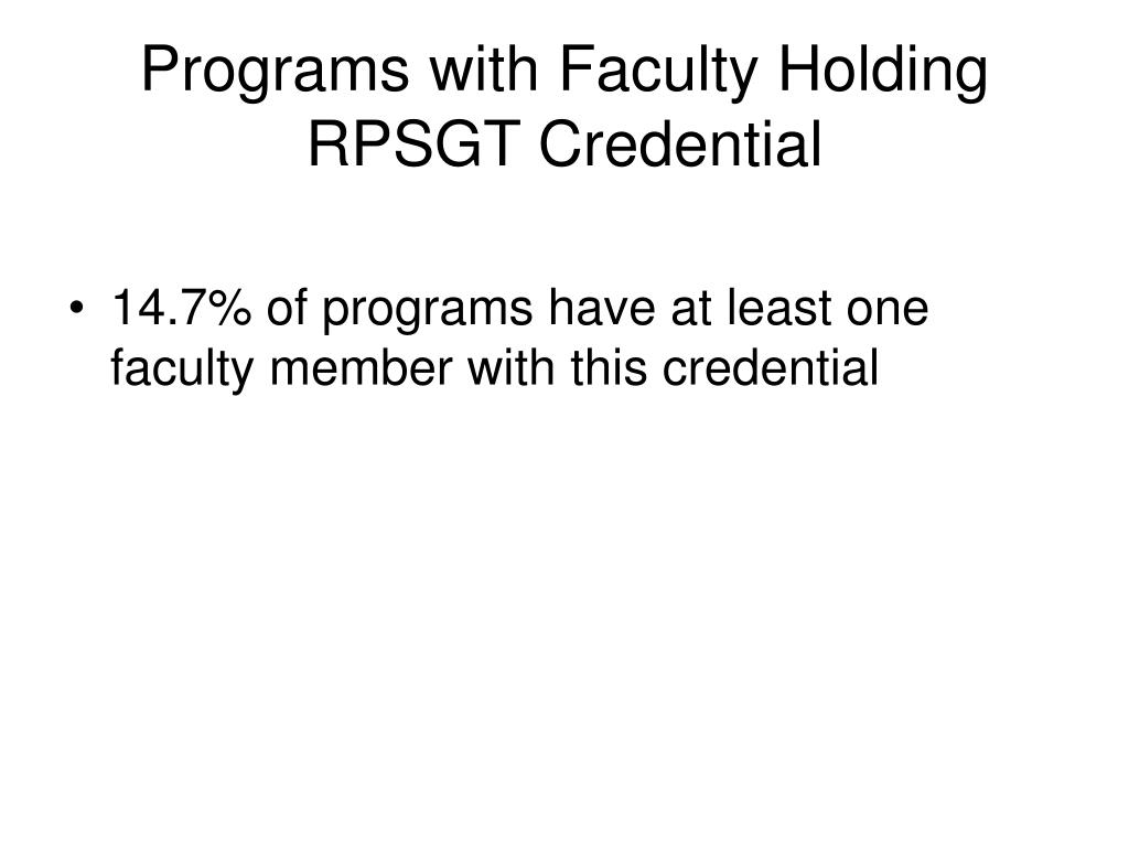 Programs with Faculty Holding RPSGT Credential