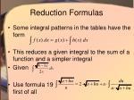 reduction formulas