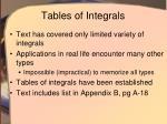 tables of integrals
