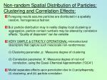 non random spatial distribution of particles clustering and correlation effects