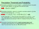 percolation threshold and probability