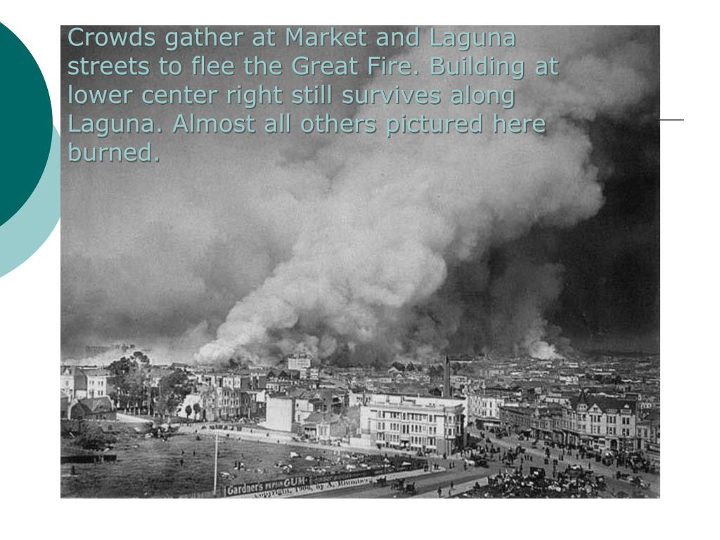 Crowds gather at Market and Laguna streets to flee the Great Fire. Building at lower center right still survives along Laguna. Almost all others pictured here burned.