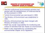 ministry of environment and forestry moef in turkey