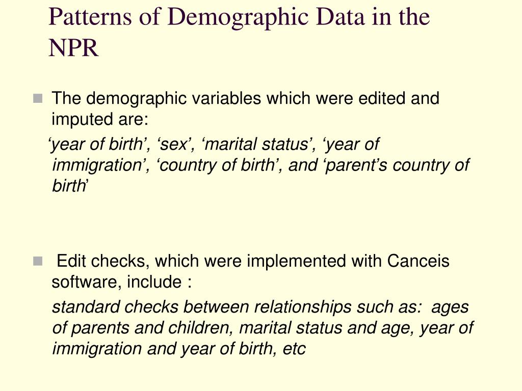 Patterns of Demographic Data in the NPR