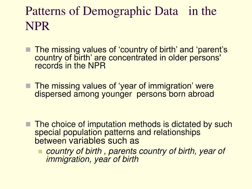 Patterns of Demographic Data