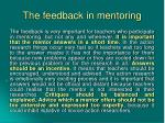 the feedback in mentoring