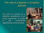 the role of a teacher in croatian schools