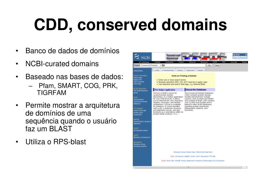 CDD, conserved domains