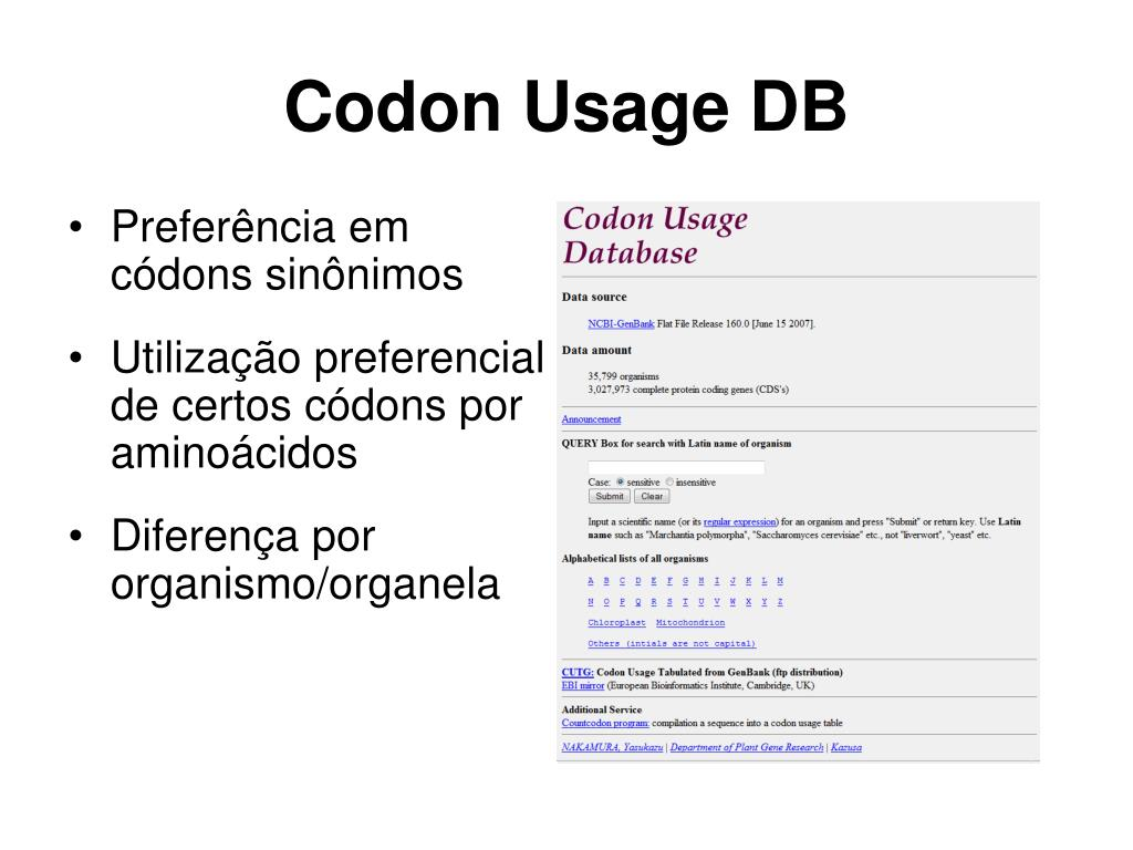 Codon Usage DB