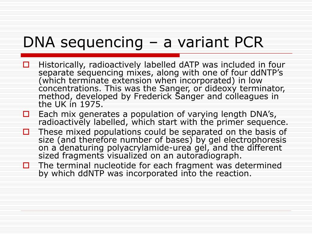 DNA sequencing – a variant PCR