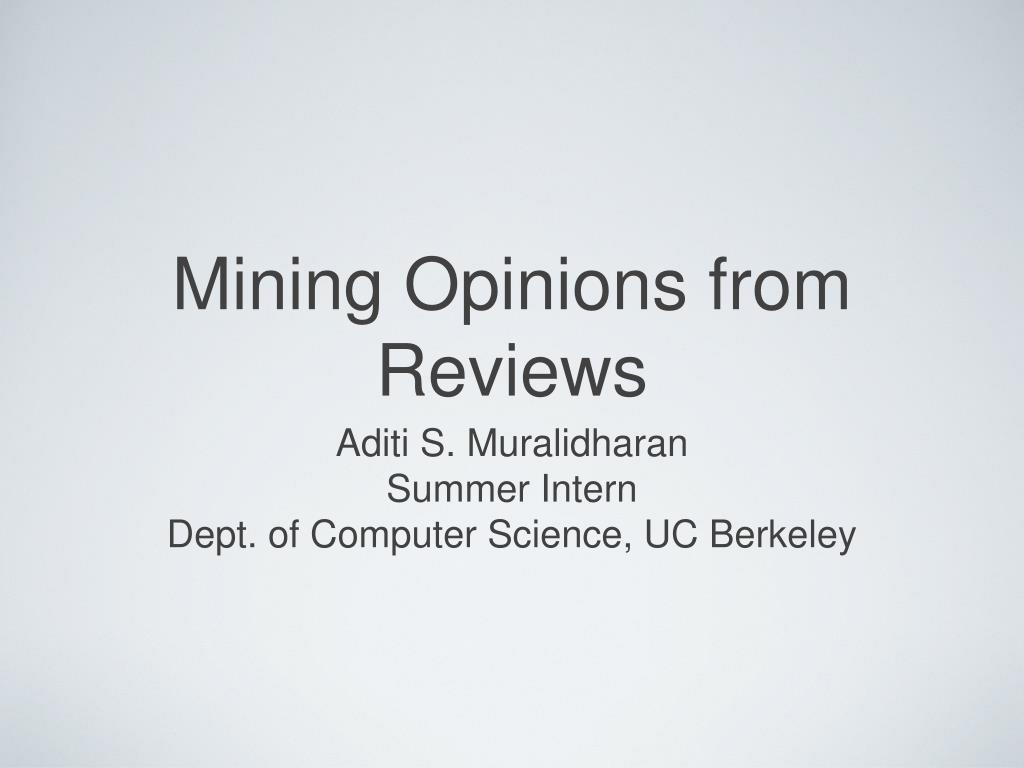 mining opinions from reviews