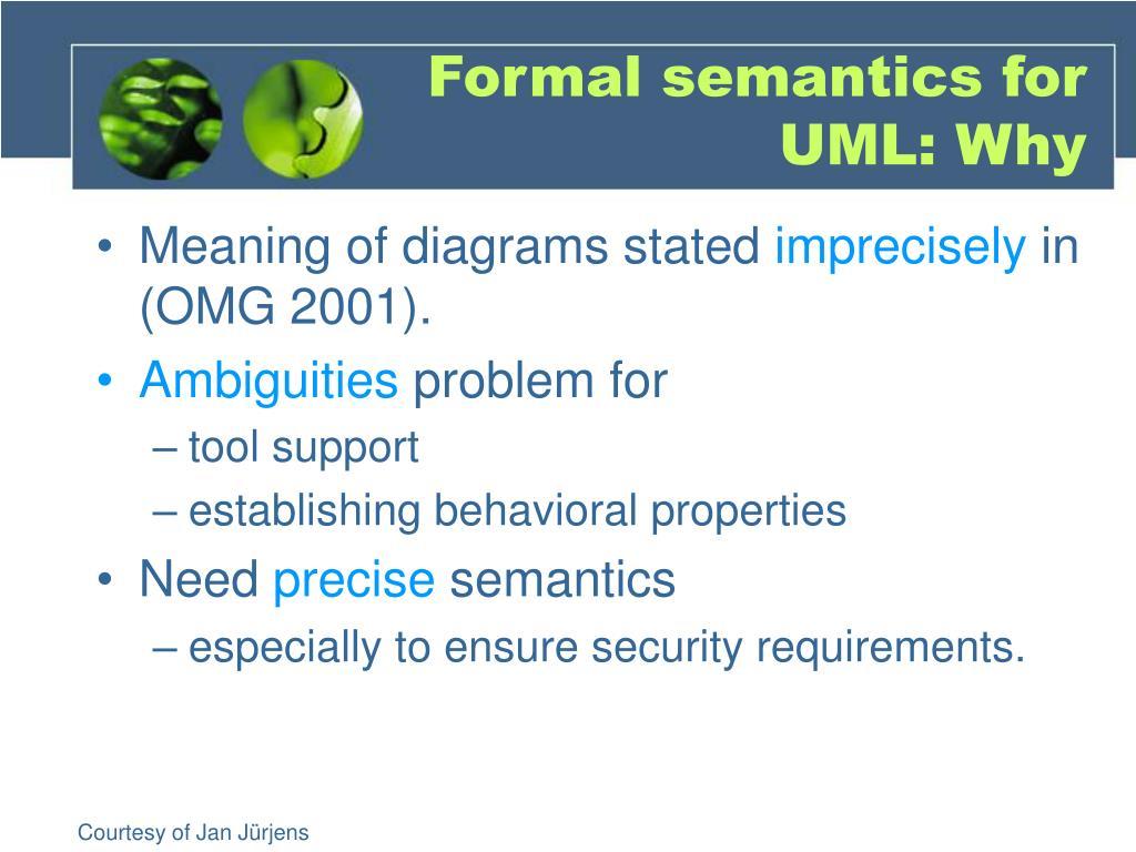 Formal semantics for UML: Why