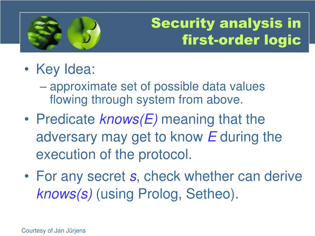 Security analysis in first-order logic