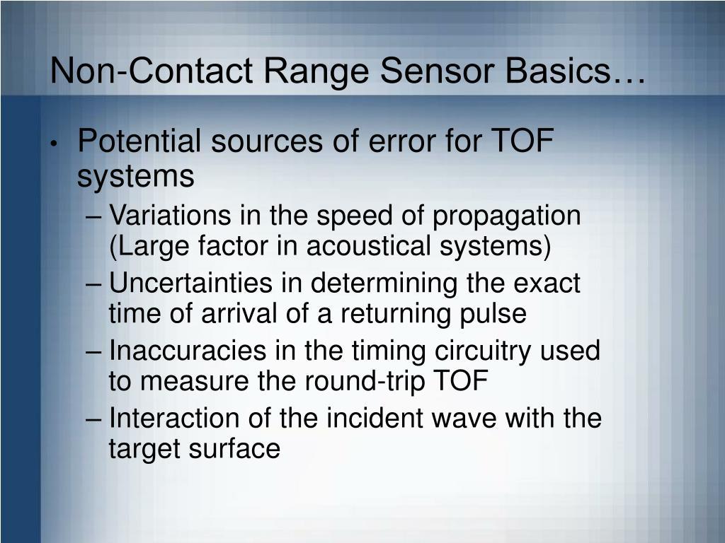 Non-Contact Range Sensor Basics…