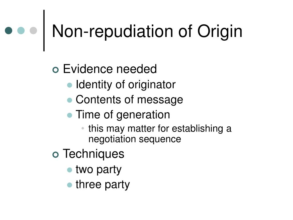 Non-repudiation of Origin