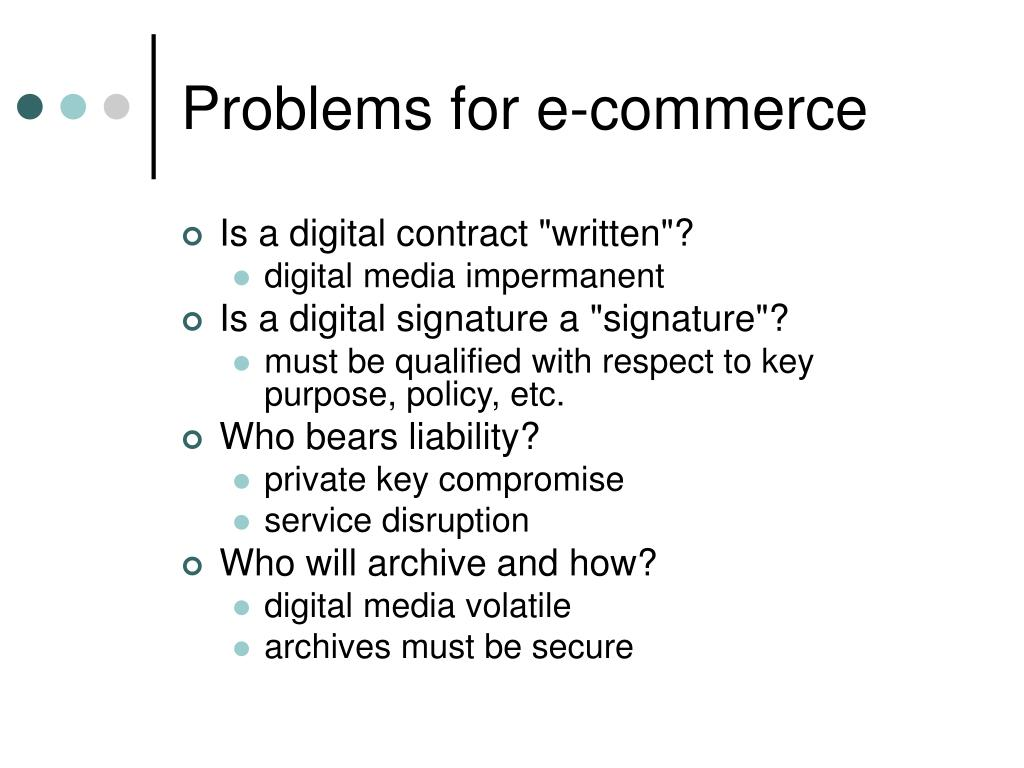 Problems for e-commerce