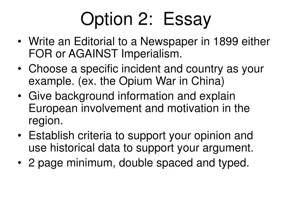 Option 2:  Essay