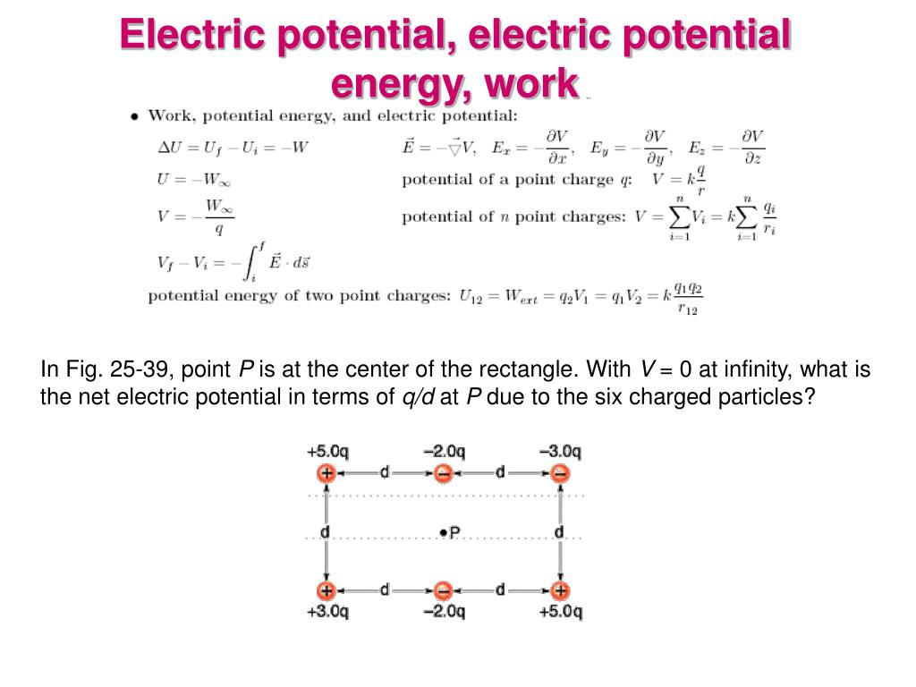 Electric potential, electric potential energy, work