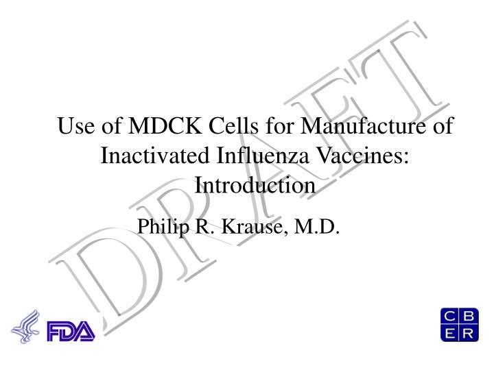 Use of mdck cells for manufacture of inactivated influenza vaccines introduction