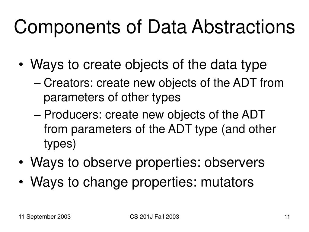 Components of Data Abstractions