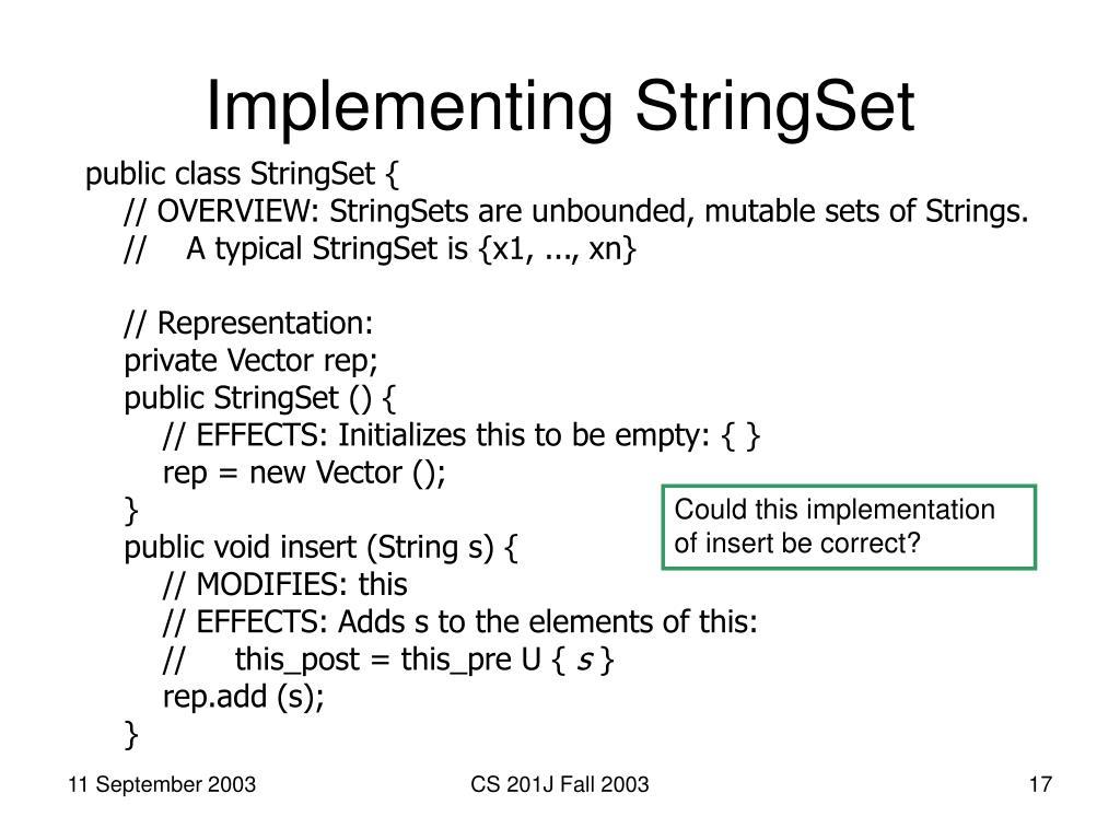 Implementing StringSet