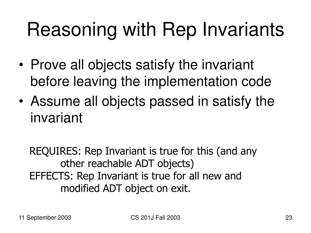 Reasoning with Rep Invariants