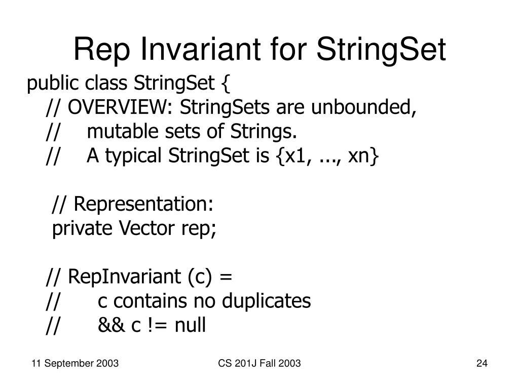 Rep Invariant for StringSet