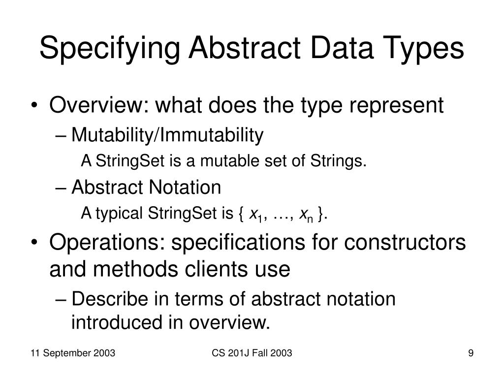Specifying Abstract Data Types