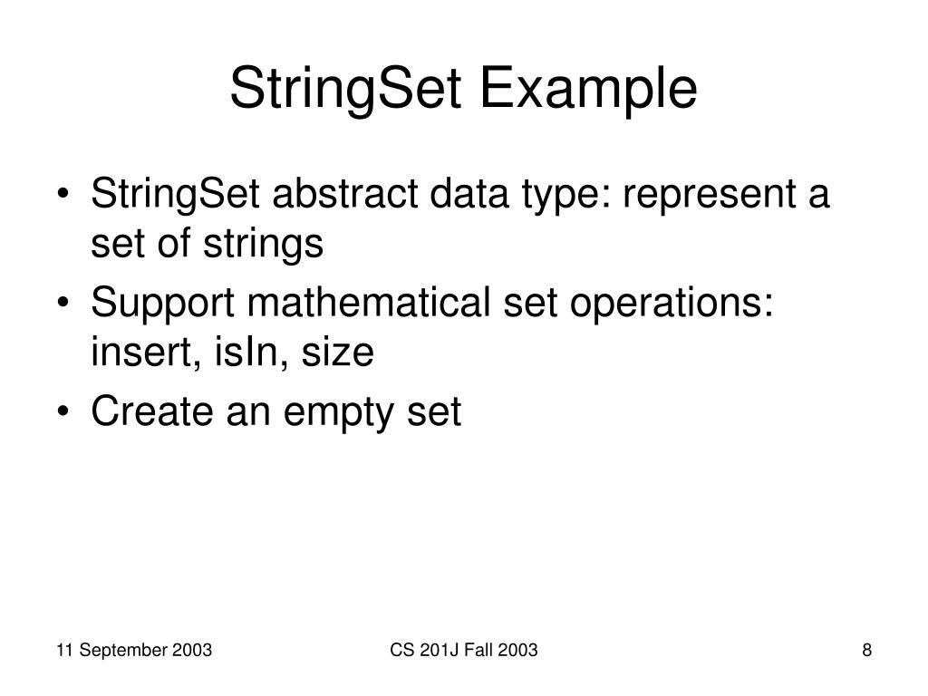 StringSet Example