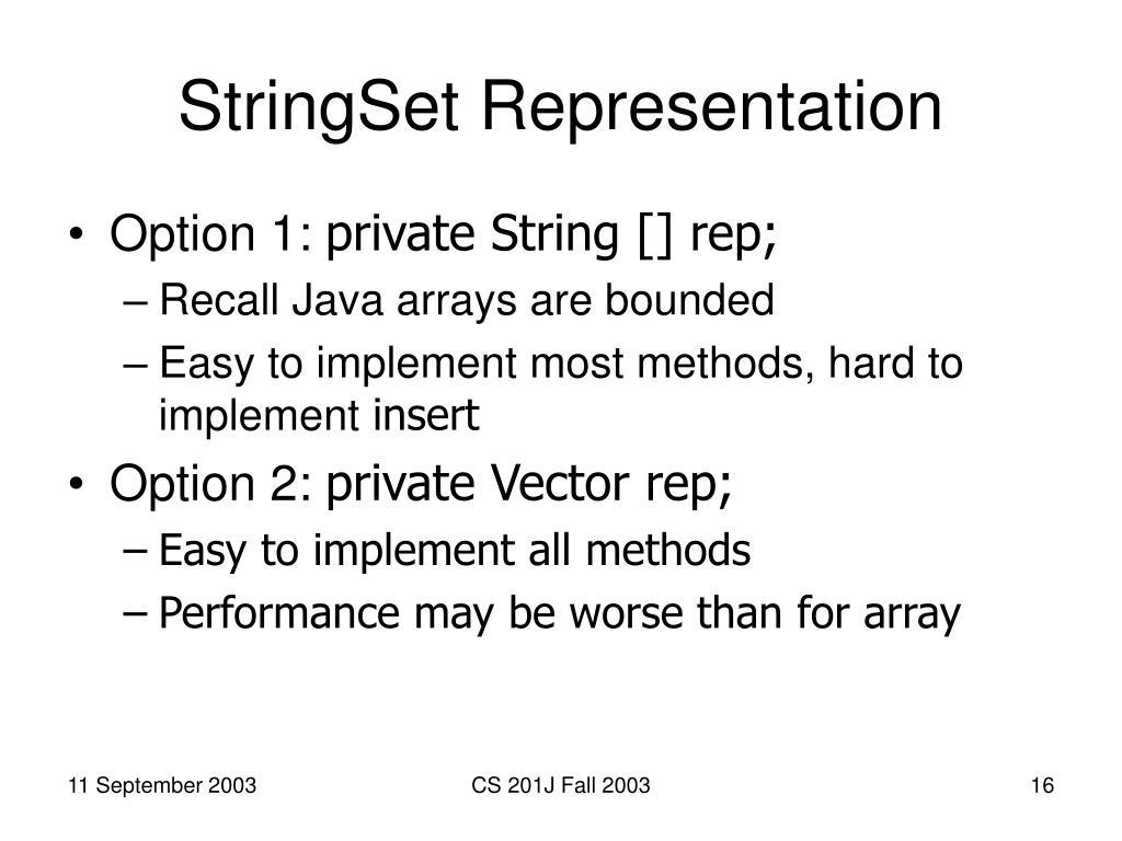 StringSet Representation