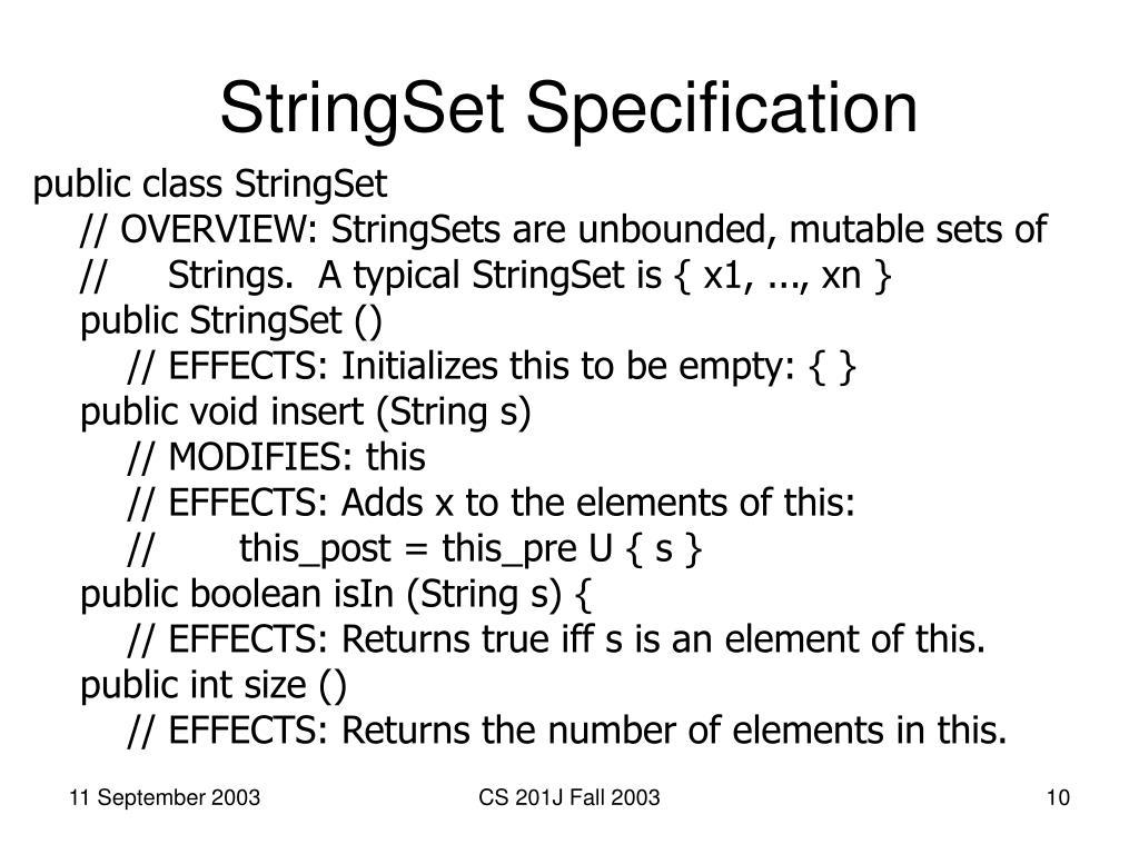StringSet Specification