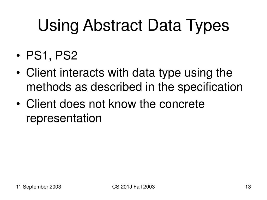Using Abstract Data Types