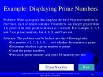 example displaying prime numbers