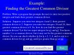 example finding the greatest common divisor