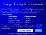 example finding the sales amount