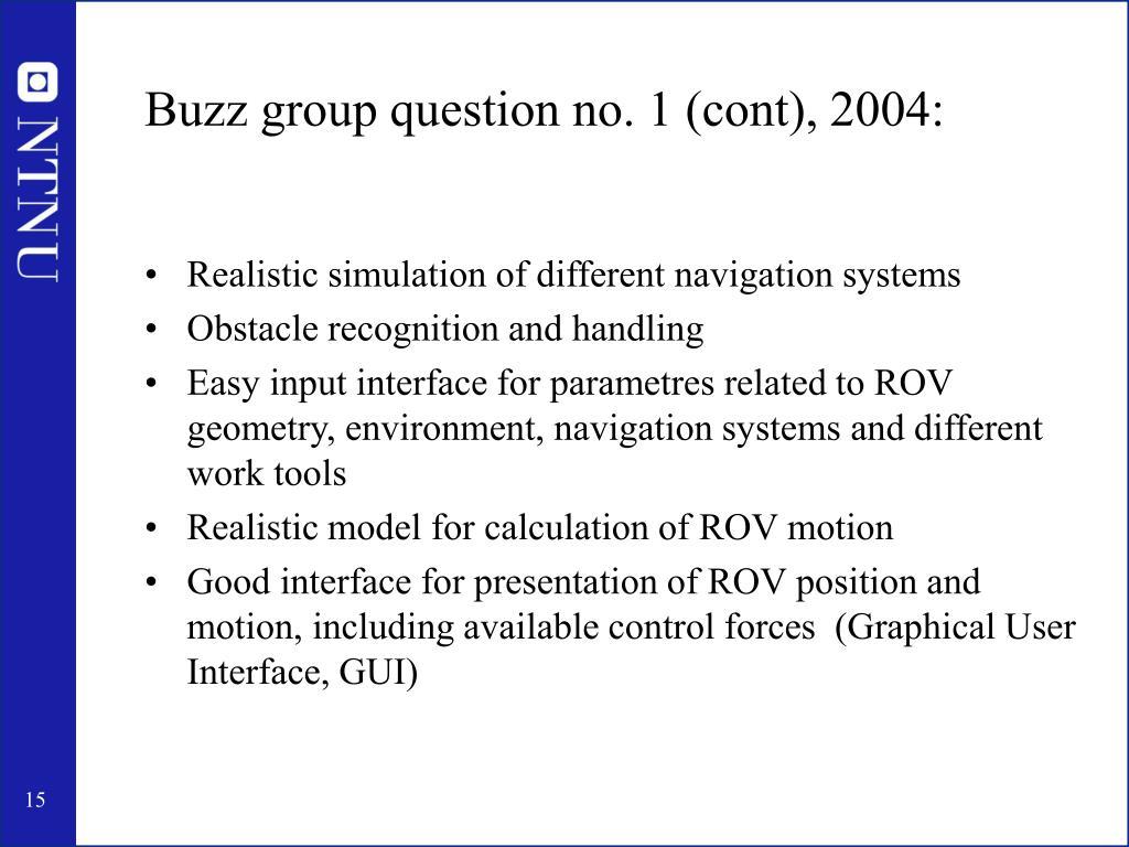 Buzz group question no. 1 (cont), 2004: