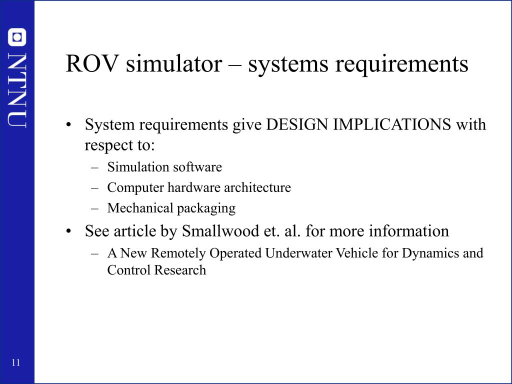 ROV simulator – systems requirements