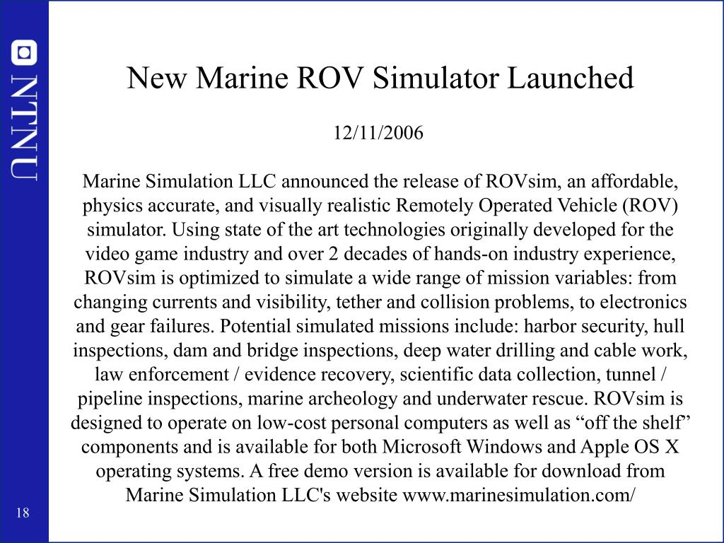 New Marine ROV Simulator Launched