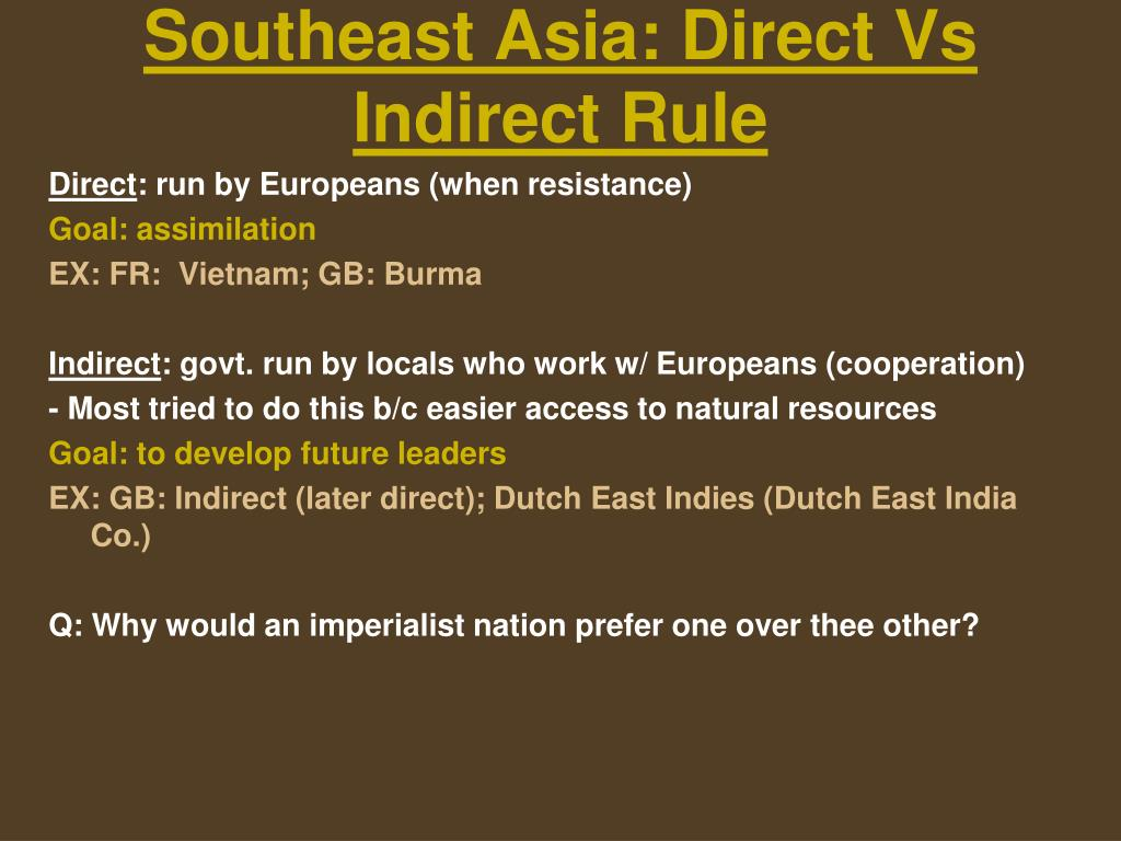 Southeast Asia: Direct Vs Indirect Rule