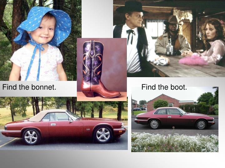 Find the bonnet.                                         Find the boot.