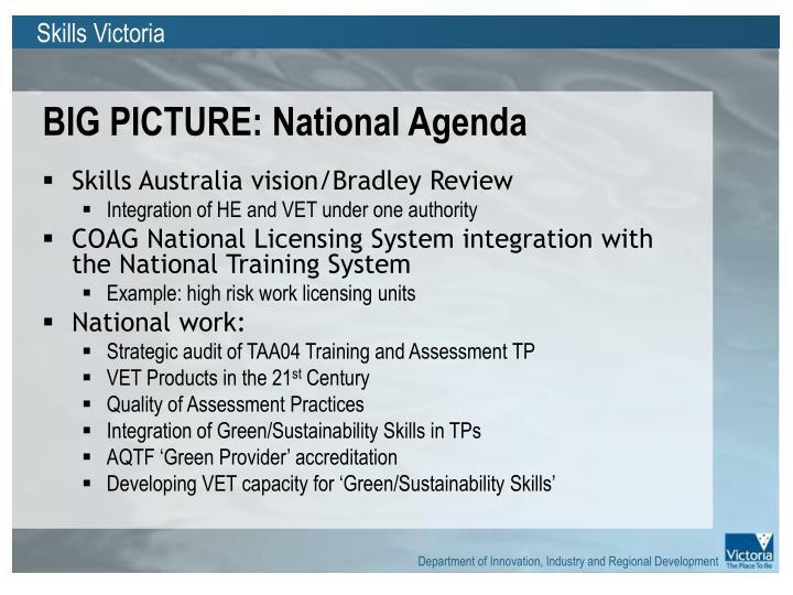 Big picture national agenda