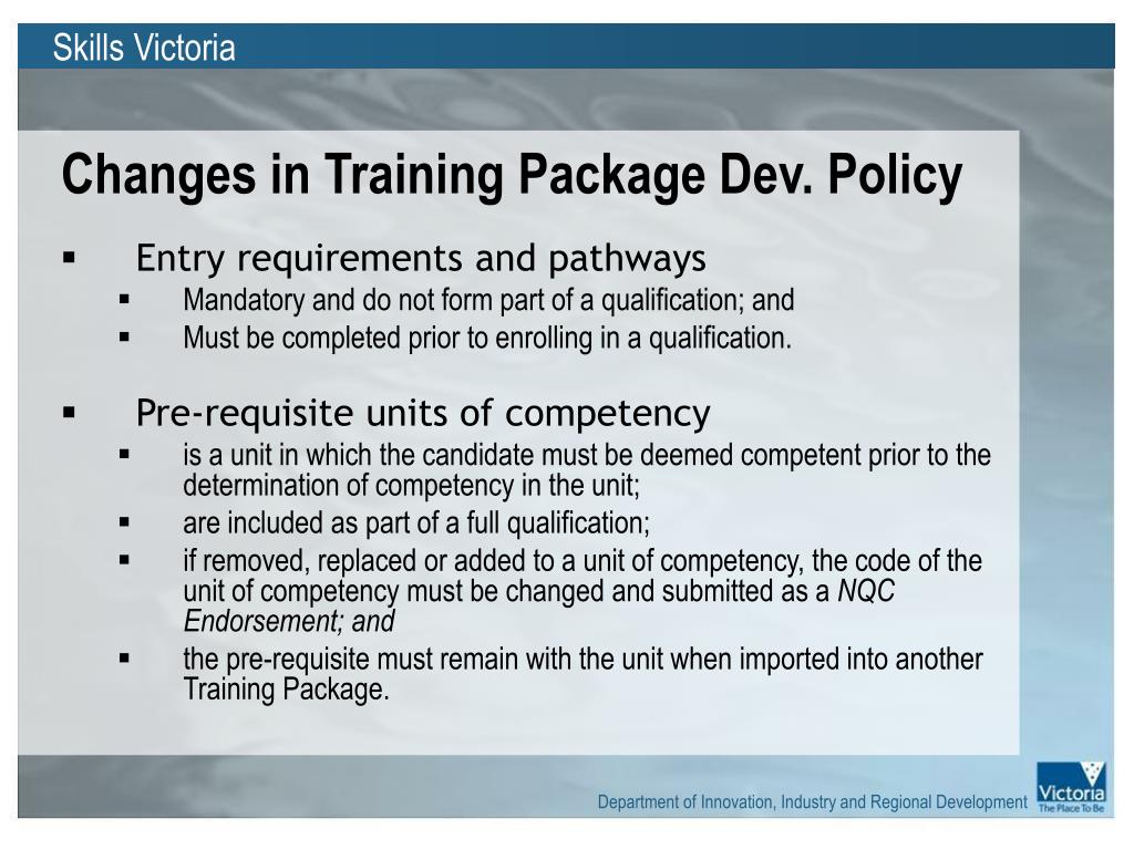 Changes in Training Package Dev. Policy