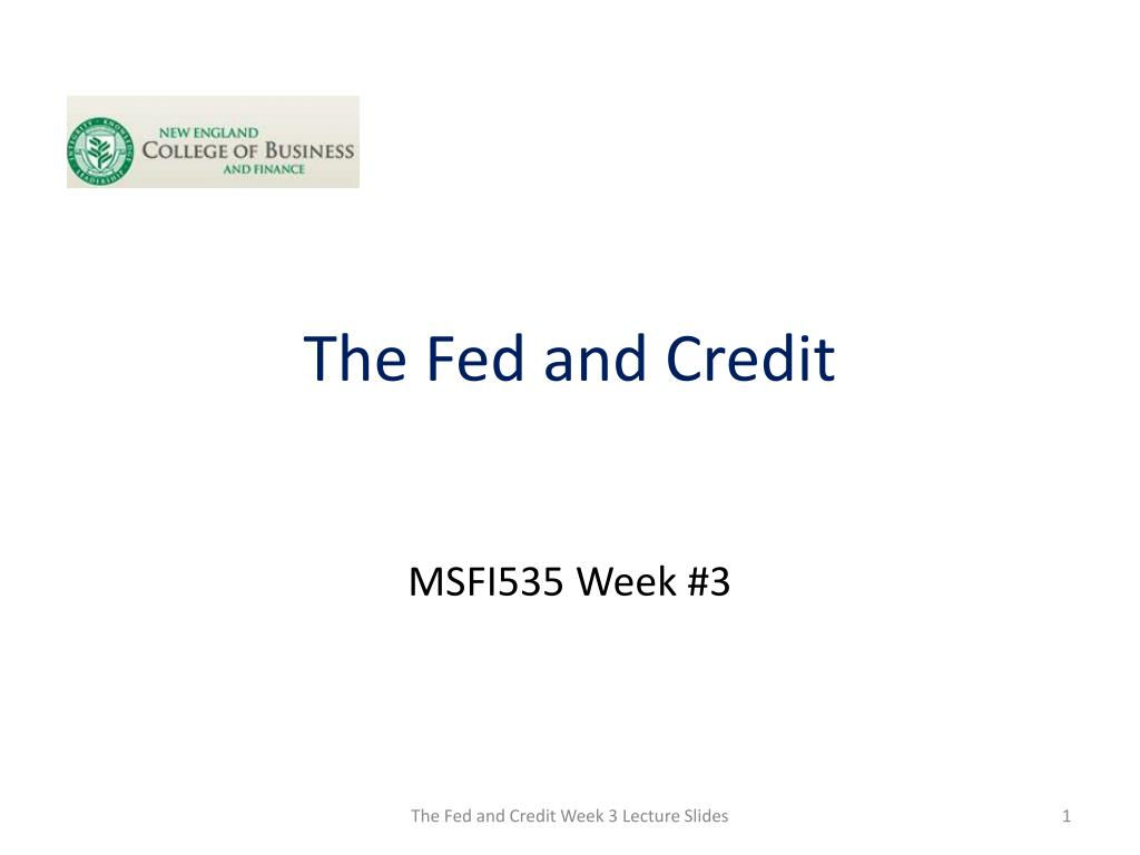 the fed and credit
