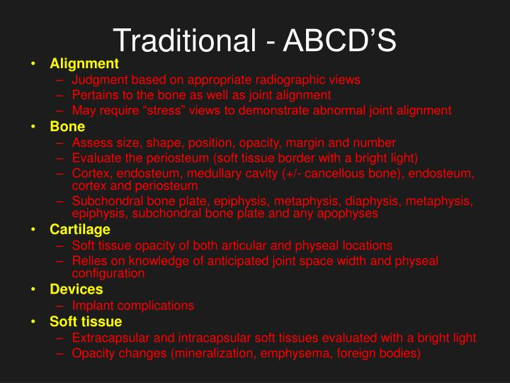 Traditional abcd s