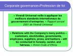 corporate governance profession de foi