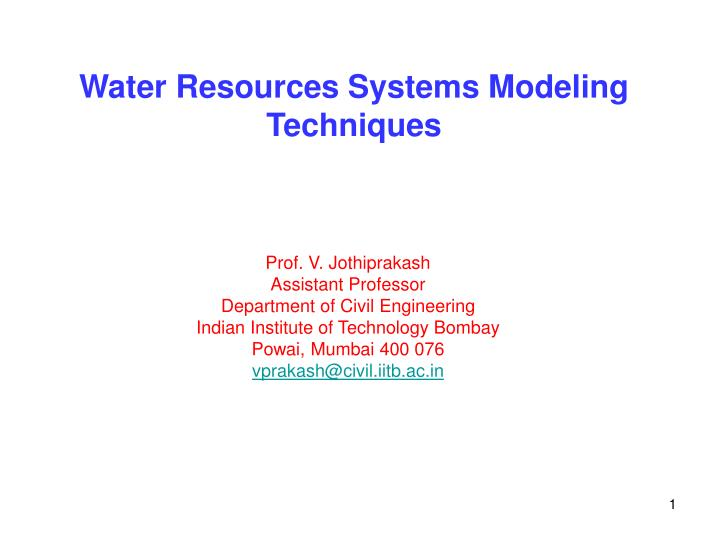 water resources systems modeling techniques n.