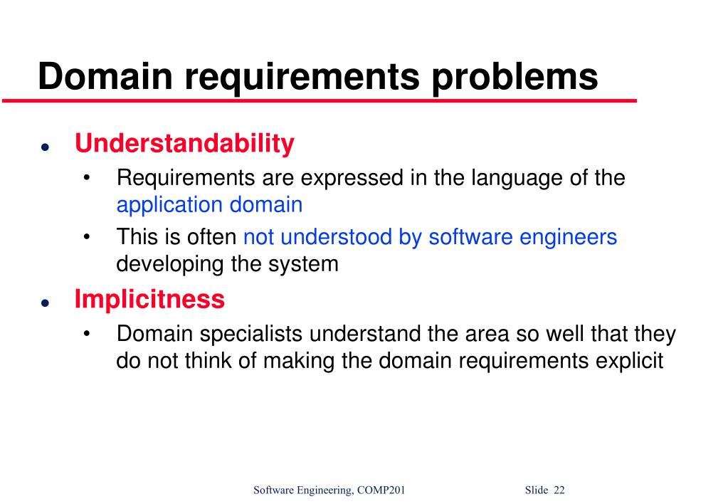 Domain requirements problems