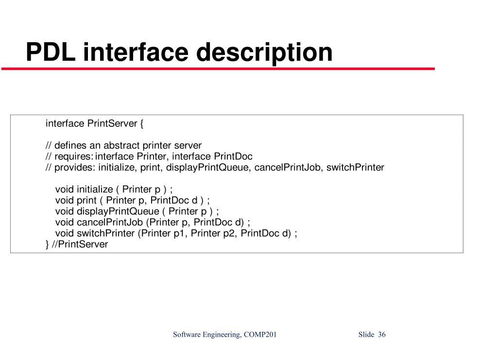 PDL interface description