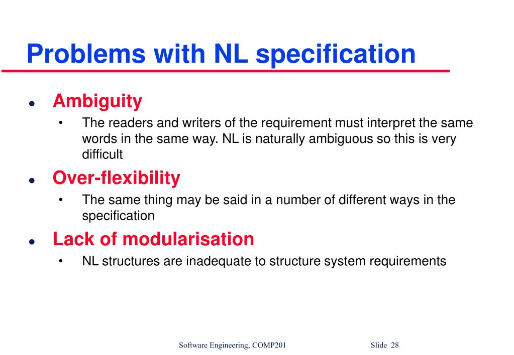 Problems with NL specification