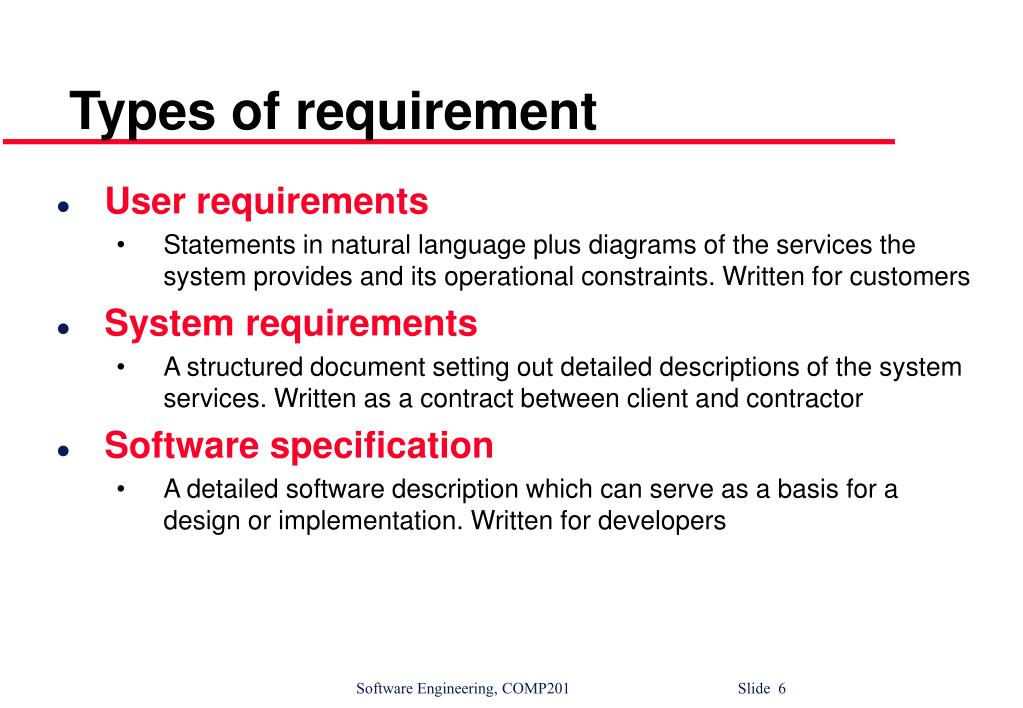 Types of requirement